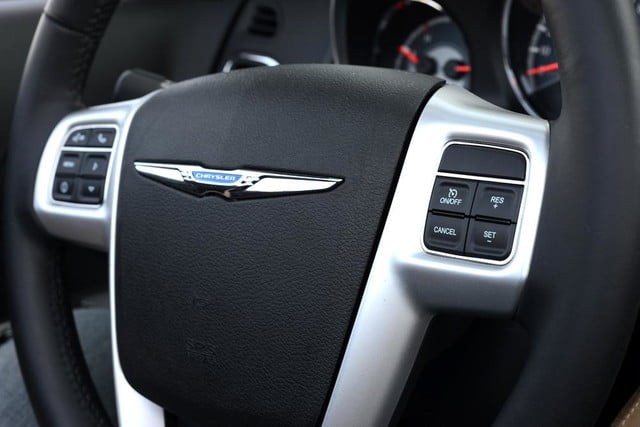2012 chrysler 200 touring convertible review interior steering wheel closeup