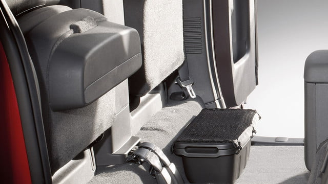 2018 Nissan Frontier King Cab underseat storage and flip-up rear seats