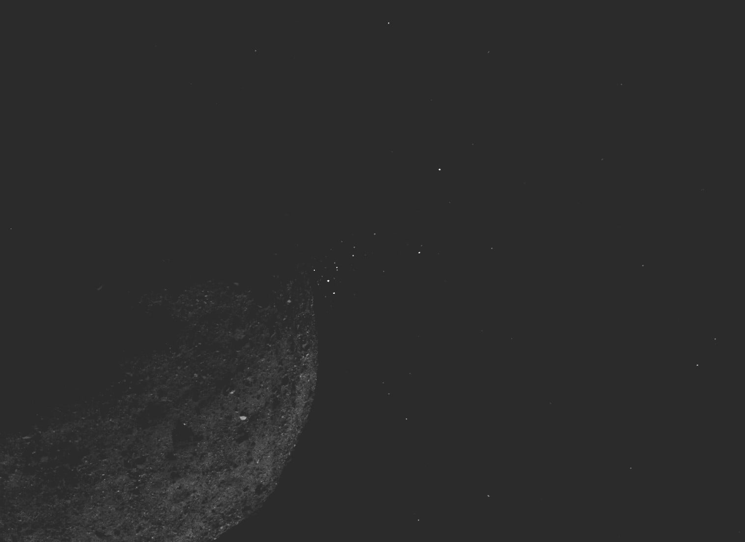 Unexpected particle plumes discovered jetting out of asteroid Bennu