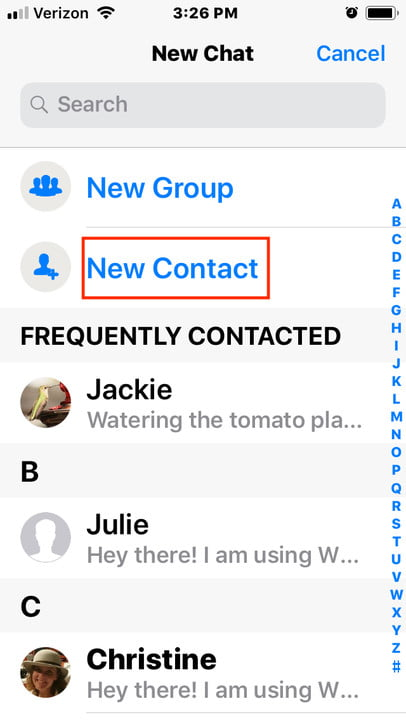 add contact to WhatsApp iOS