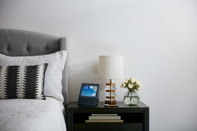 amazon echo show on bedside table