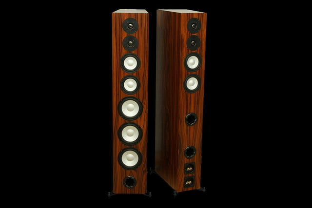 Axiom LFR1100 Floorstanding Speakers Boston Cherry front and back drivers