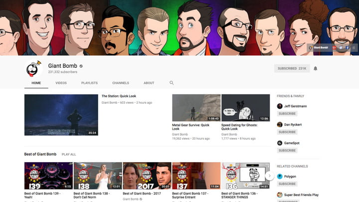 best youtube channels giant bomb