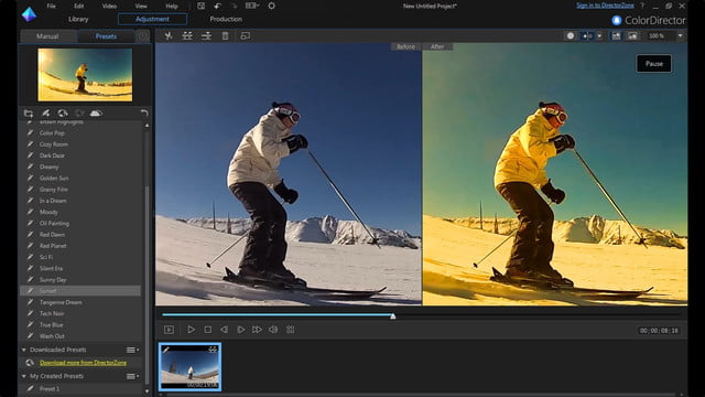 cyberlink director suite 4s new features include action cam video editing color presets