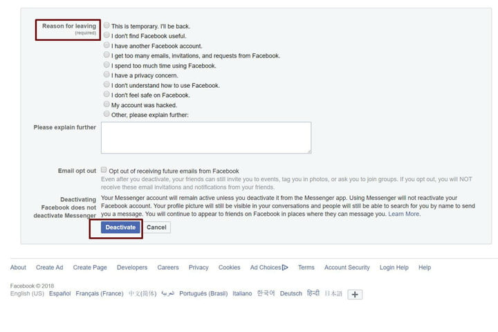 how to delete your facebook account deactivatepromptfb