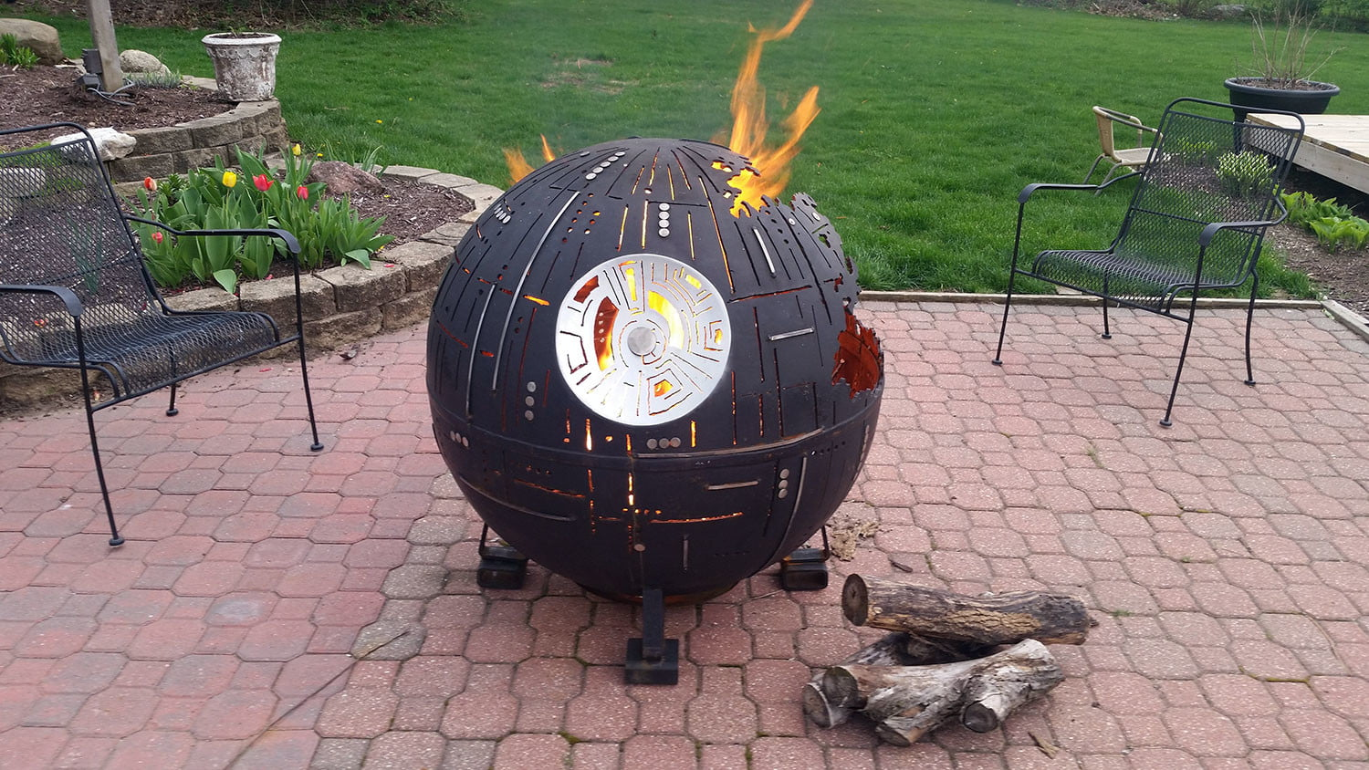 Star Wars Death Star Fire Pit Part - 15: Witness The Fire Power Of This Fully Armed And Operational Death Star Fire  Pit