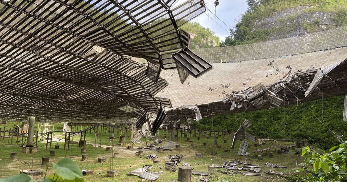 Arecibo Observatory in Puerto Rico suffers damage from broken cable