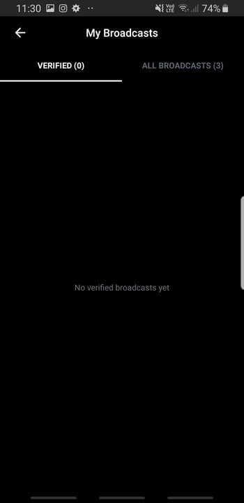 Screenshot of My Broadcasts feature on Citizen app