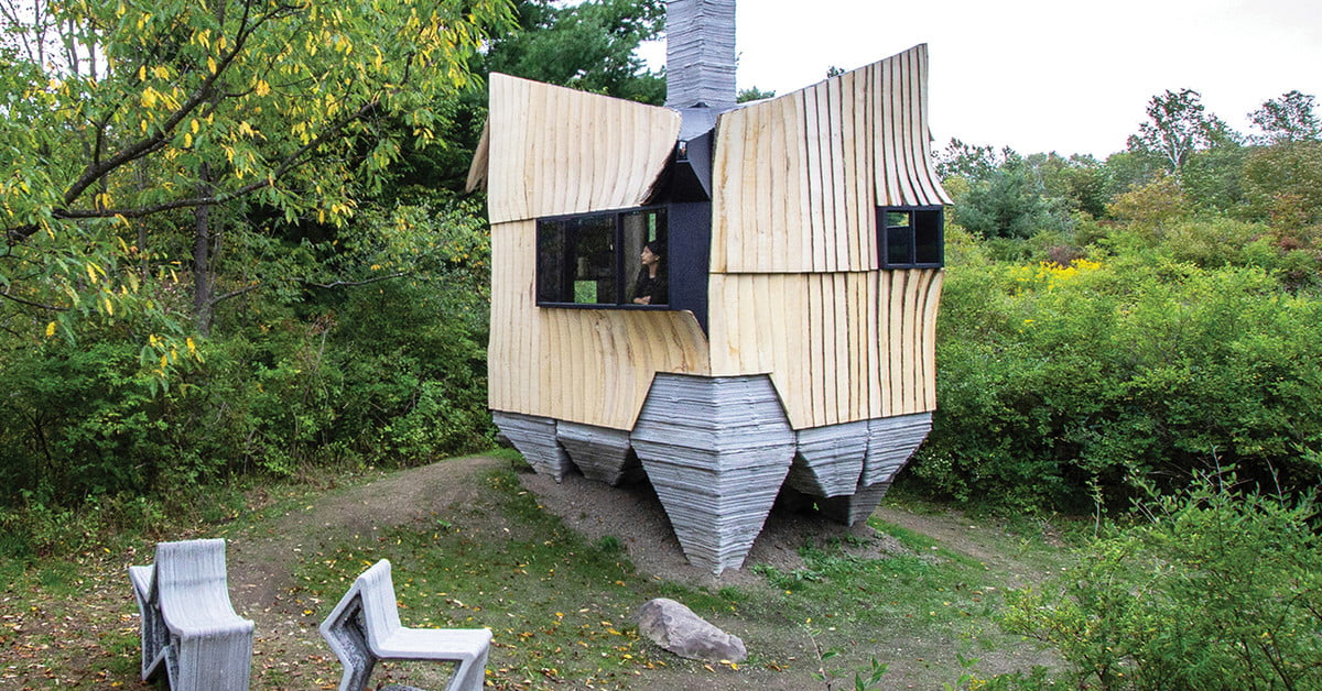 This robotically built cabin offers a peek into the high-tech future of housing