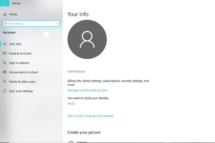 Image of Manage my Microsoft Account Window
