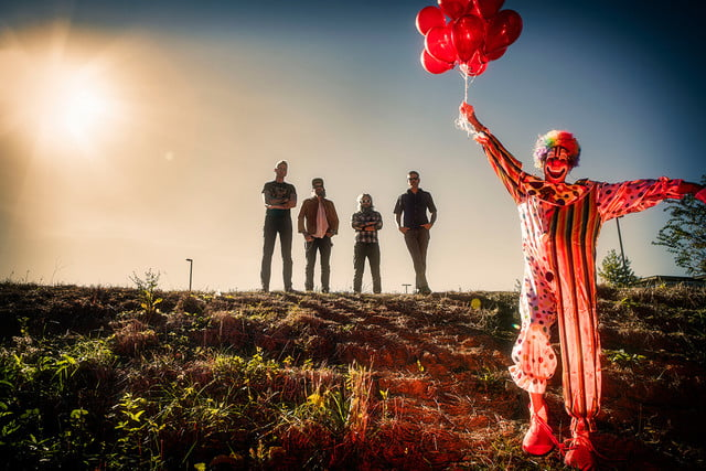 mastodon interview  2017 band shot with clown balloons photo by jimmy hubbard