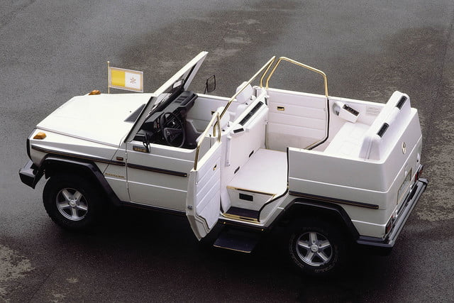 10 sweet popemobiles that will make you wish held the keys of heaven mercedes benz 230 g popemobile  1980 889417papstwagen32