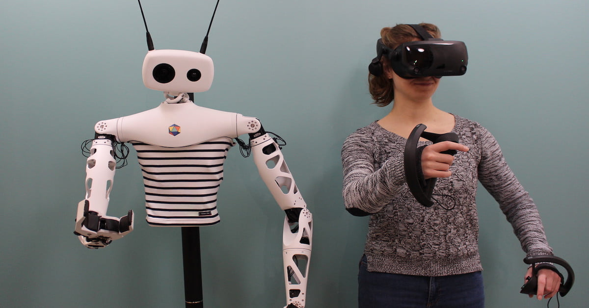This quirky humanoid robot can be teleoperated using a VR headset
