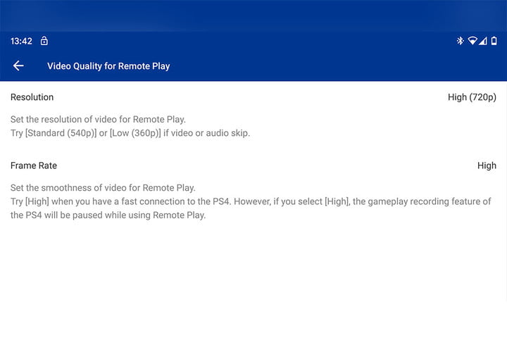 PS4 remote play iOS and Android quality settings
