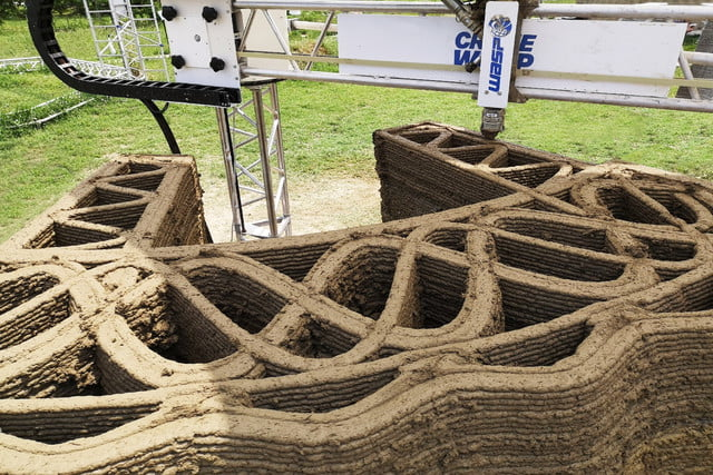 3d printed wasp nest house tecla earth wall section by crane infill