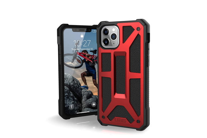 Photo shows an iPhone 11 Pro, front and back view, in a red and black metallic rugged case from Urban Armor Gear