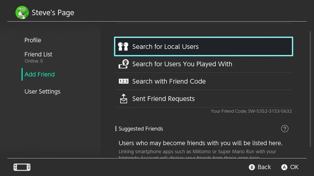 how to add friends on switch user page