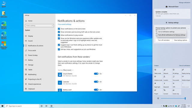 windows 10 may 2020 update review 20h1 notification settings