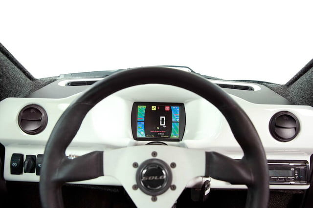 electra meccanica solo unveiled dashboard with screen view