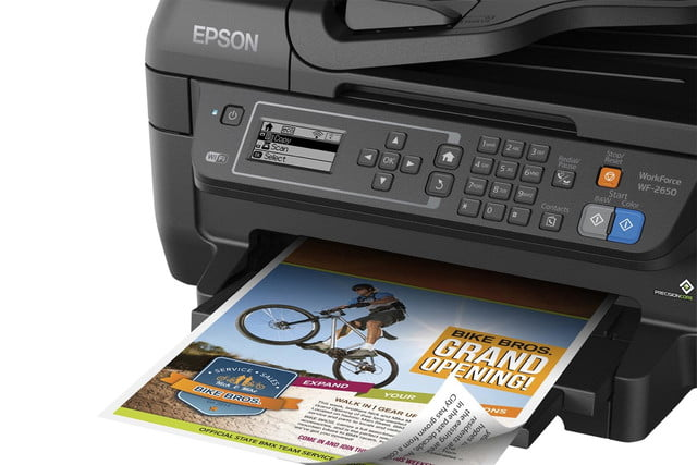 epson lowers price precisioncore inkjet tech new multifunction units workforce wf 2650 close up