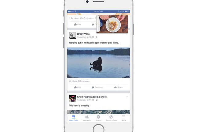 facebook begins testing news feed just for video picture in videos
