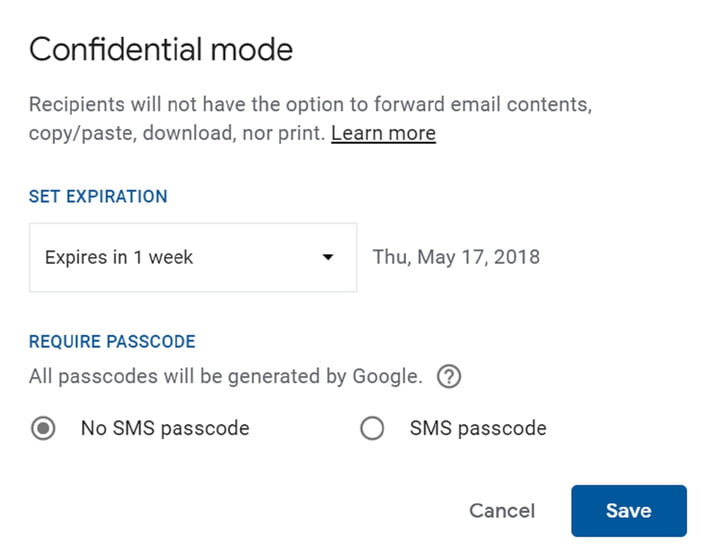 how to use gmail confidential mode pop up window