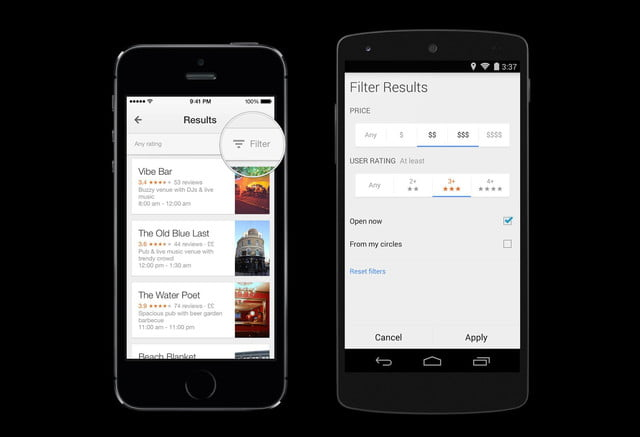 google maps ios android adds uber lane guidance more  local search filters