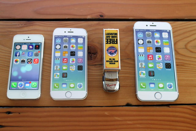 iPhone 5, iPhone 6, toy truck, and iPhone 6 Plus