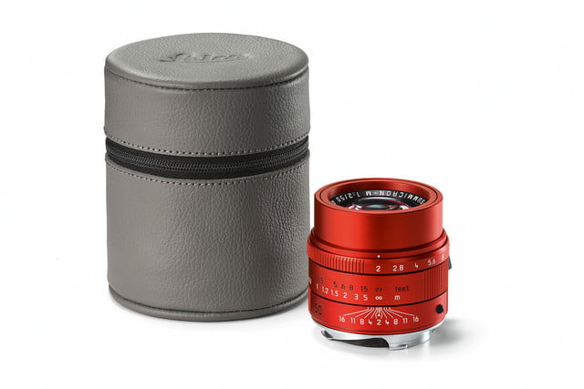 leica first special edition lens apo summicron m red grey leather hood cmyk
