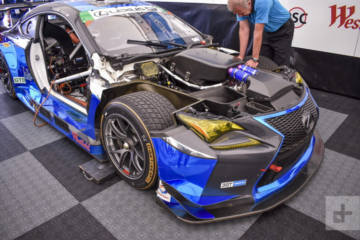 Front of the Lexus RC F GT3 angled to the right showing off the right wheel and engine