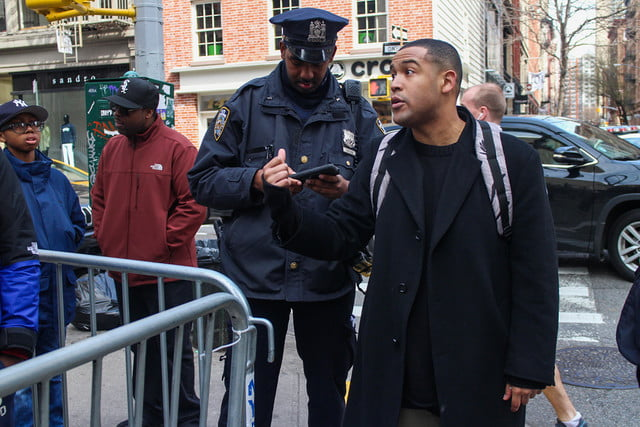 kanye west pop up shop nyc tidal man with cops