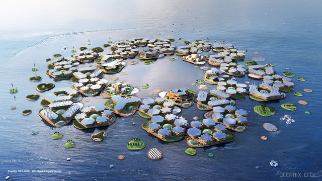 this floating city concept could withstand a category 5 hurricane oceanix 1