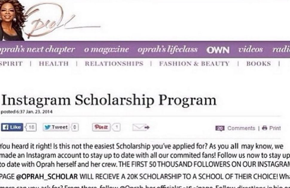 Oprah Winfrey Scholarship will never be Unclaimed