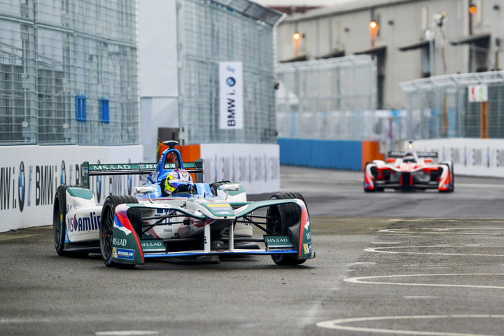 A BMW driver flying down a straightway in the NYC ePrix