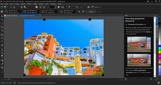 coreldraw graphics suite 2018 launches photo paint  perspective correction tool copy