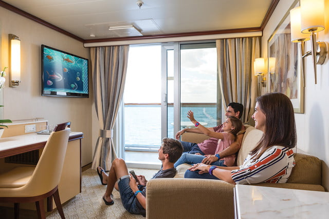 carnival ocean medallion how it works playocean  family interacting with stateroom tv