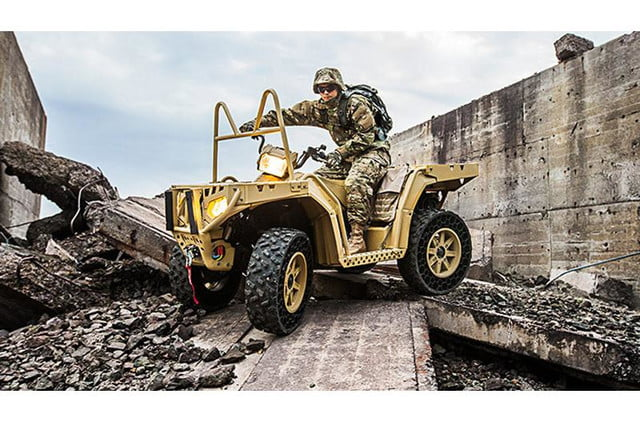 polaris new airless tire can withstand a 50 caliber bullet military atv