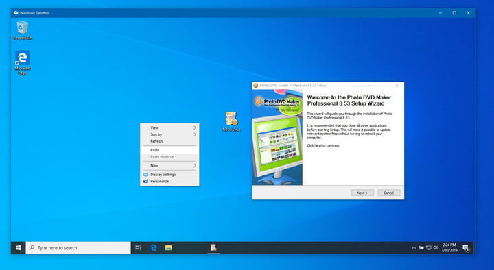 Cómo usar Windows Sandbox en acción