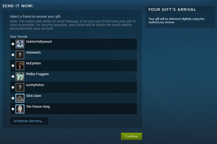 how to gift games on steam schedule delivery