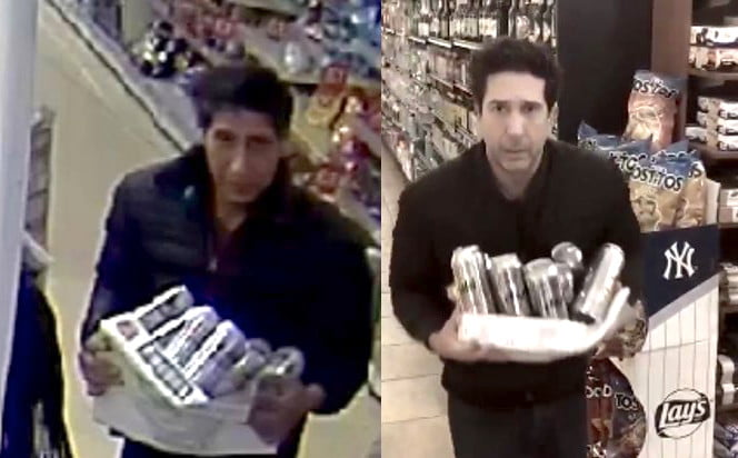 a comic turn by david schwimmer may help british cops to find suspect twitter