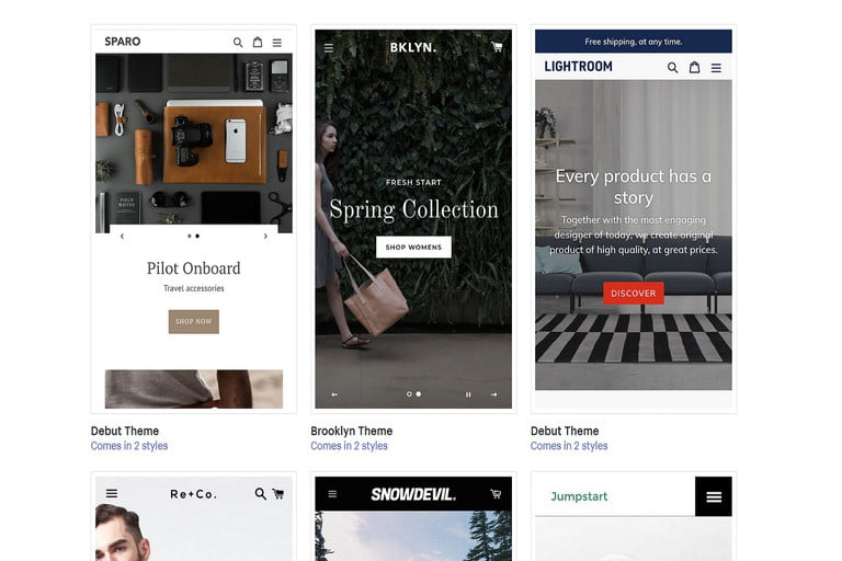 Screenshot of Shopify's mobile site template collection