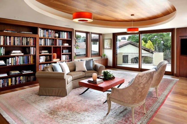 kumar malavallis 88 million home marries business and luxury the library has plenty of natural wood