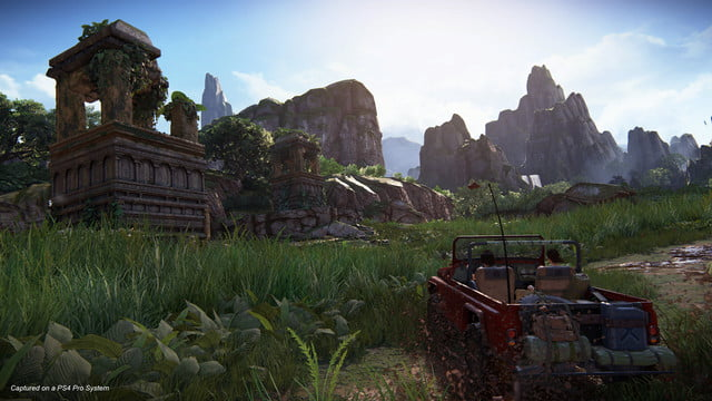 Uncharted: The Lost Legacy Nadine and Chloe driving a humvee up to a temple
