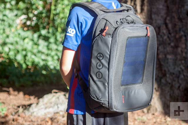 Voltaic OffGrid Solar backpack on back angle