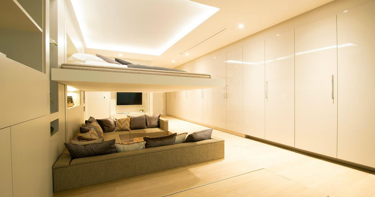 The Yo! Home Apartment Has a Bed that Raises to the Ceiling | Digital Trends & The Yo! Home Apartment Has a Bed that Raises to the Ceiling ...